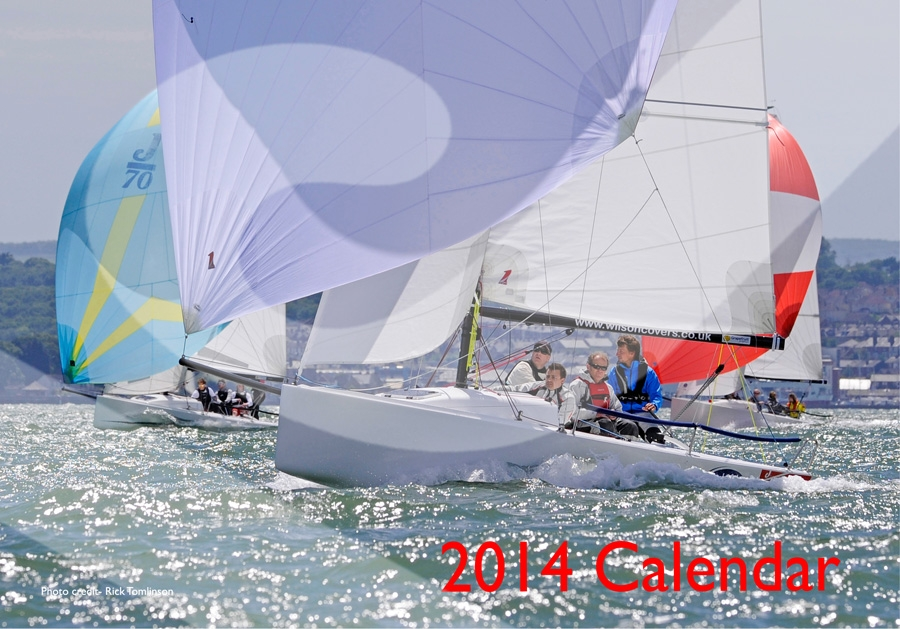 J/70s sailing off Cowes- Nationals 2013- by Rick Tomlinson