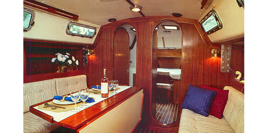 J37 C cruiser racer sailboat main cabin interior